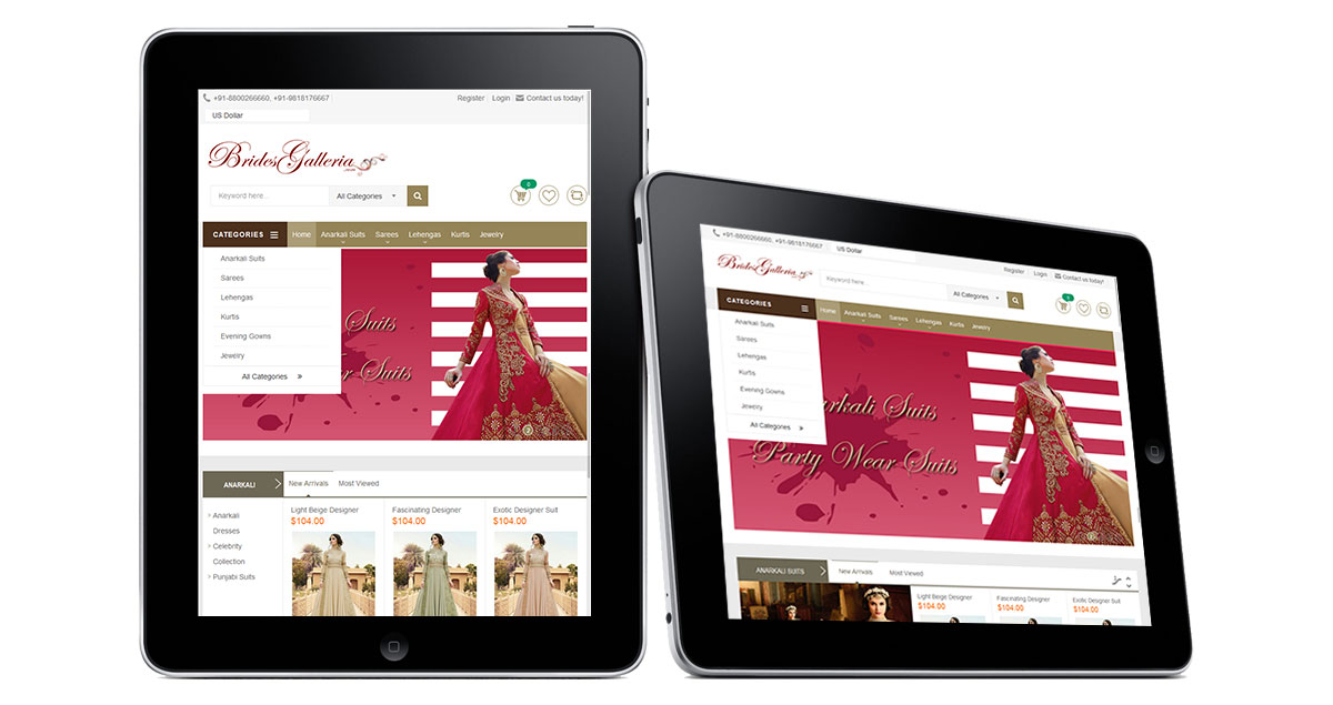 Brides Galleria Website iPad