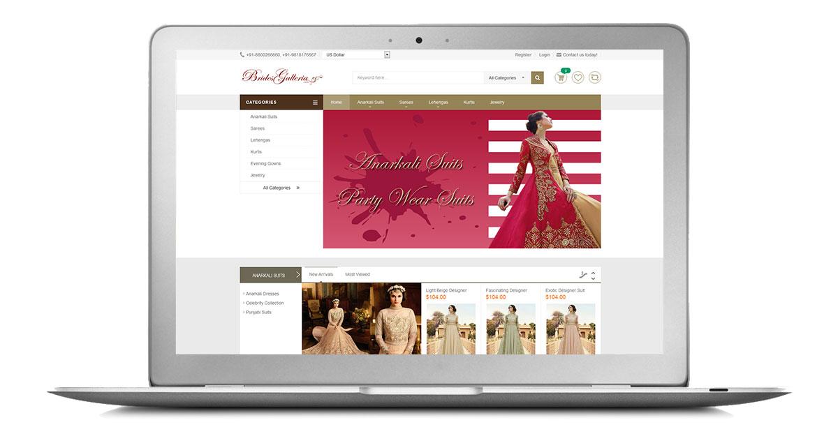 Brides Galleria Website Laptop