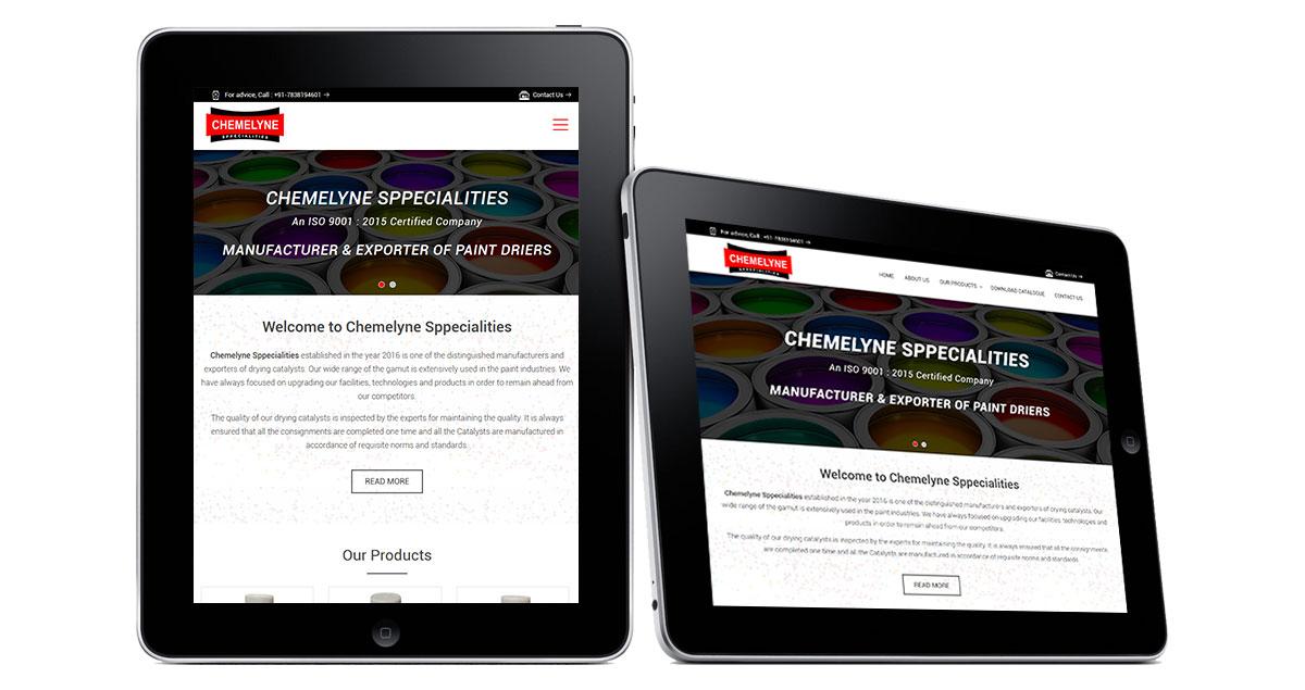 Chemelyne Sppecialities Website iPad