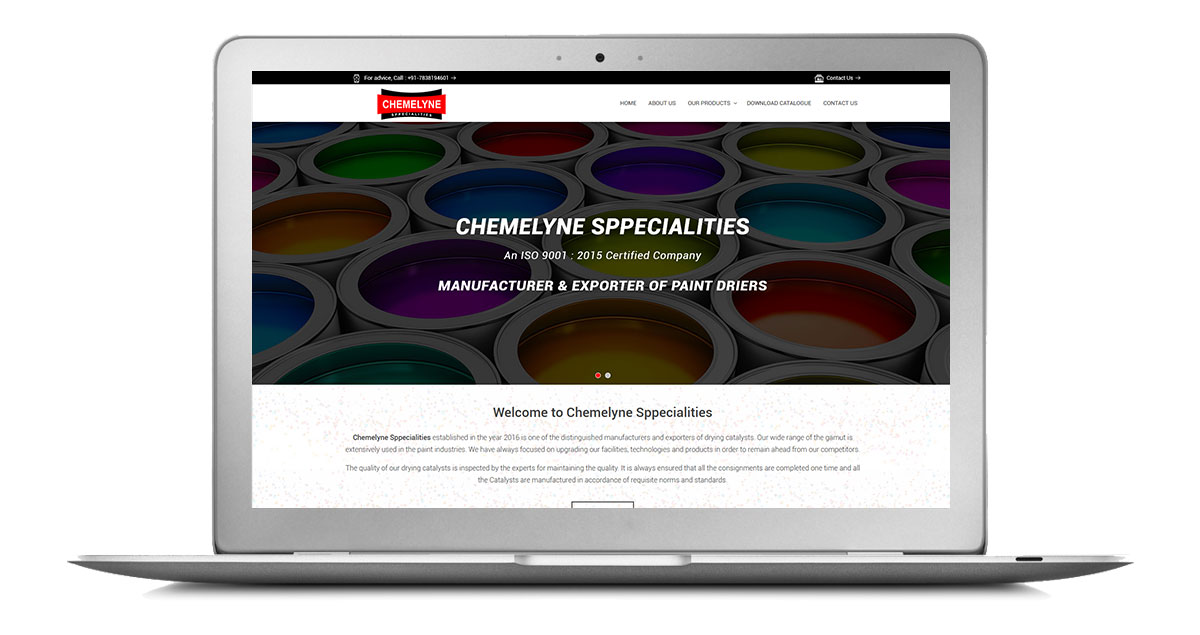Chemelyne Sppecialities Website Laptop