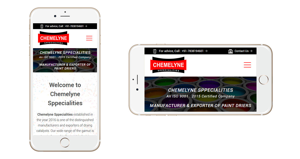 Chemelyne Sppecialities Website Mobile
