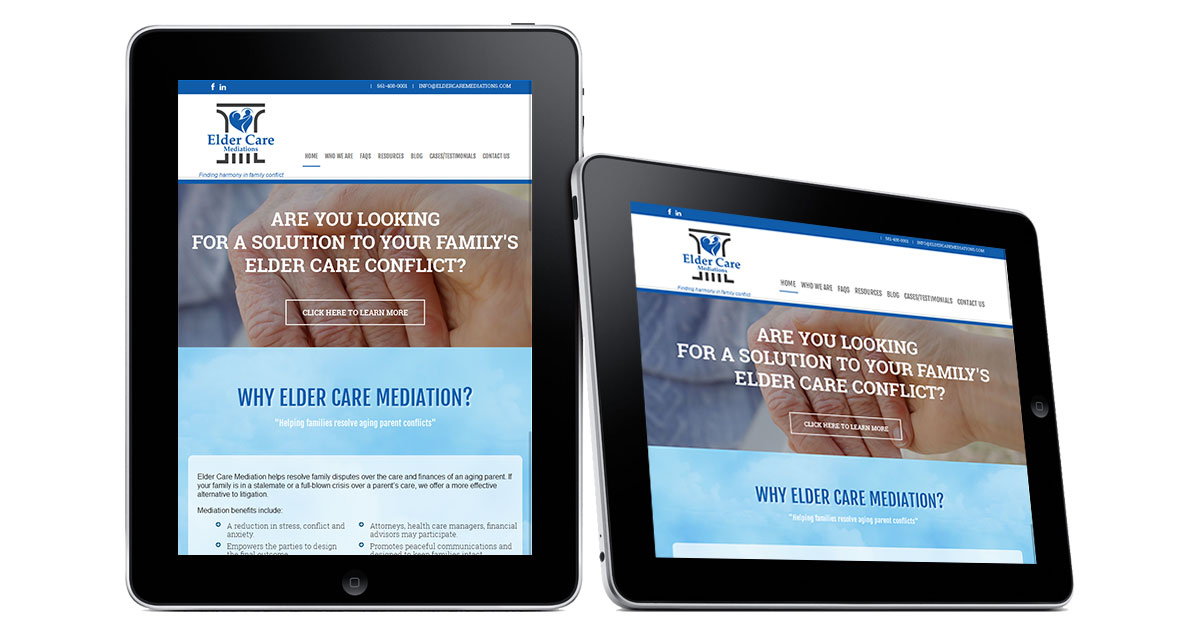 Elder Care Mediations Website iPad
