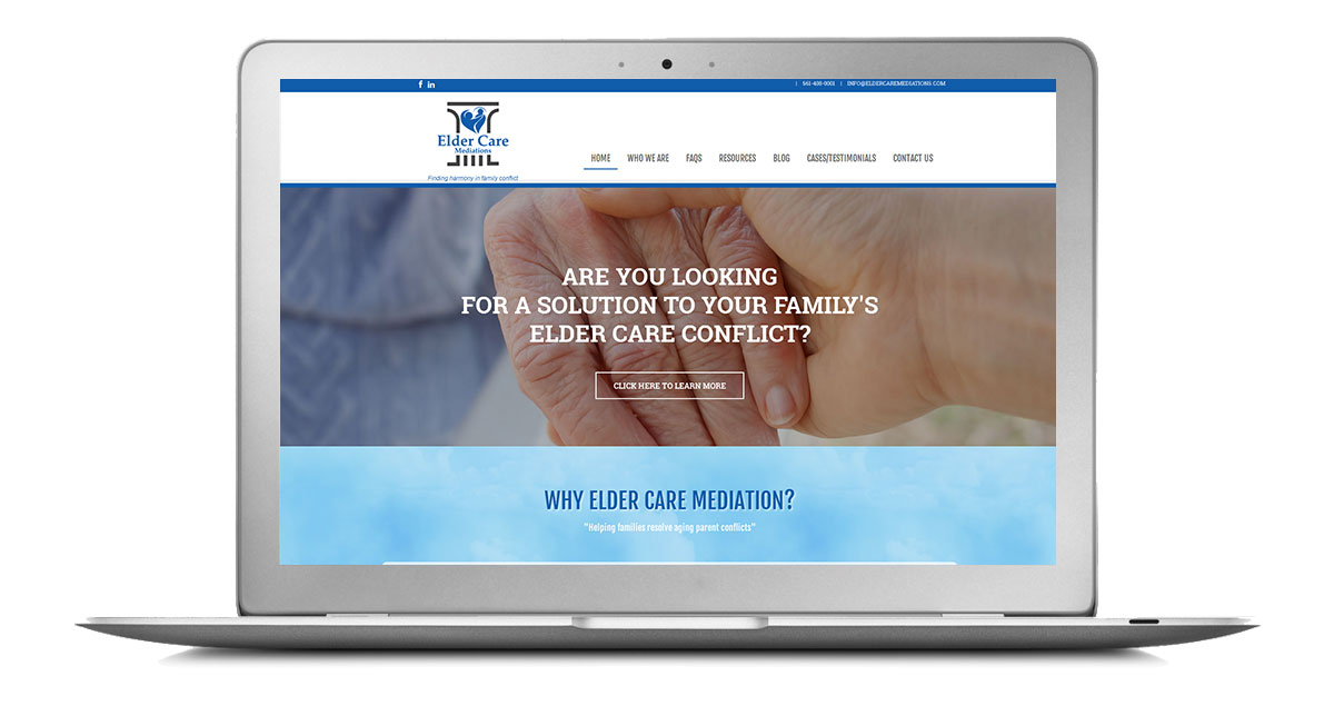 Elder Care Mediations Website Laptop