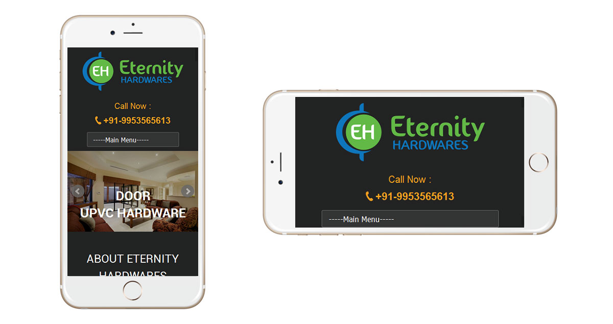 Eternity Hardwares Website Mobile
