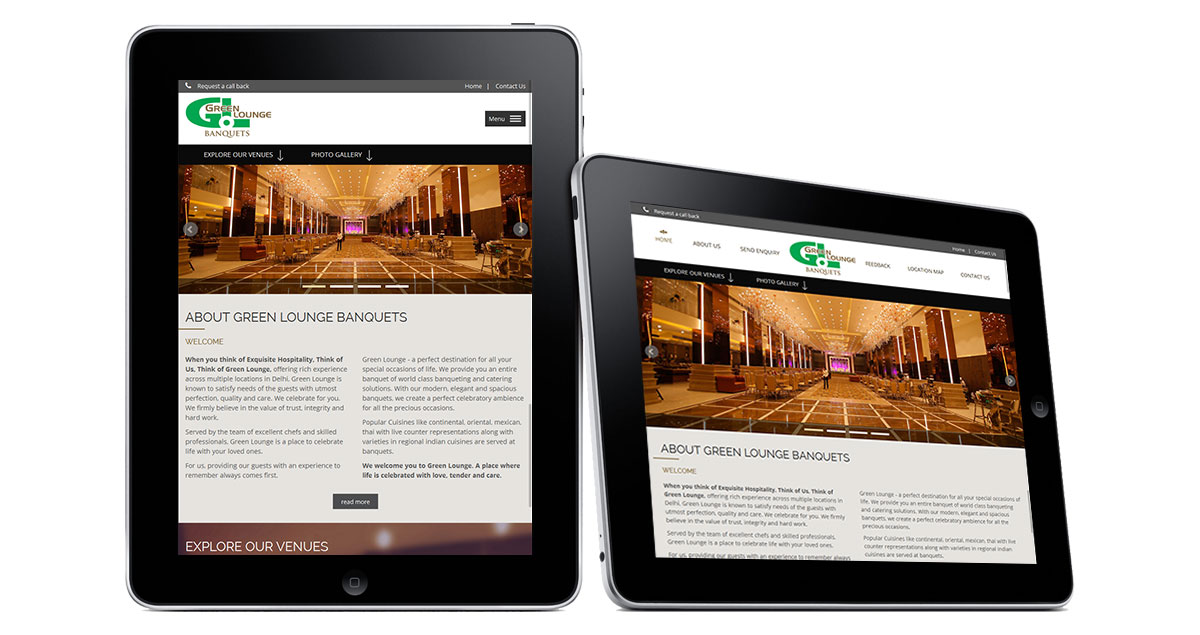 Green Lounge Banquets Website iPad