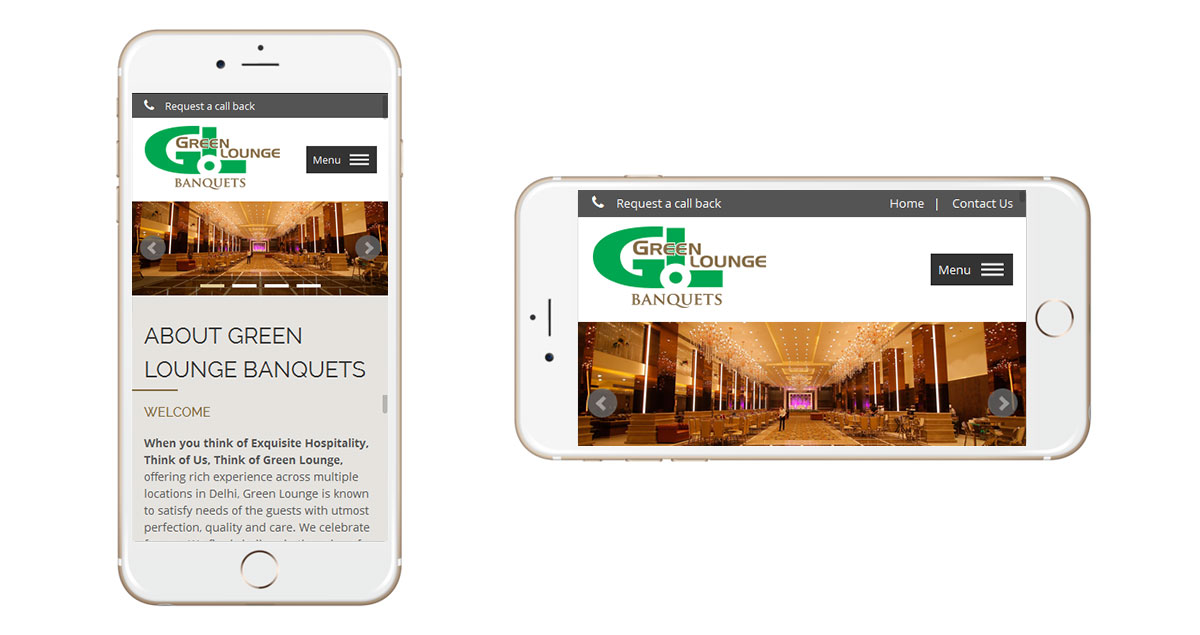 Green Lounge Banquets Website Mobile