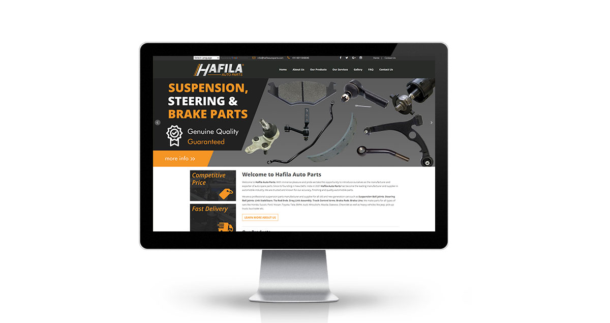 Hafila Auto Parts Website Desktop