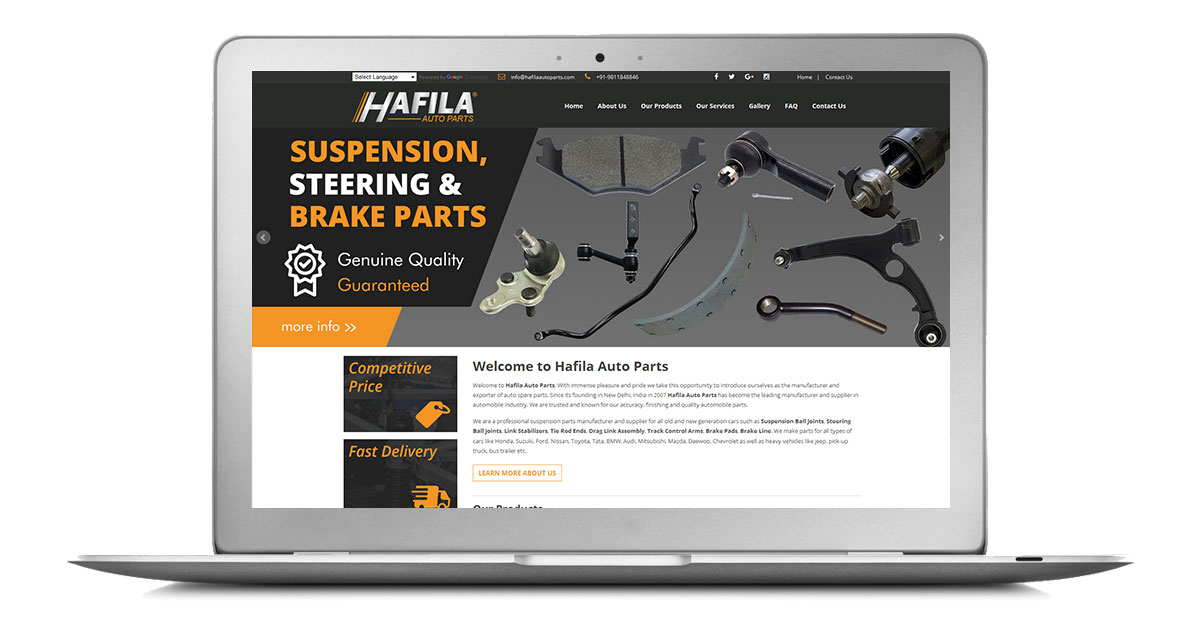 Hafila Auto Parts Website Laptop