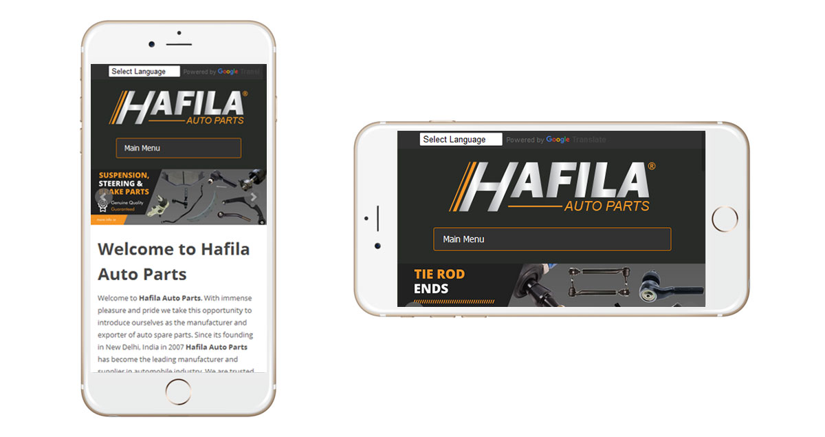 Hafila Auto Parts Website Mobile