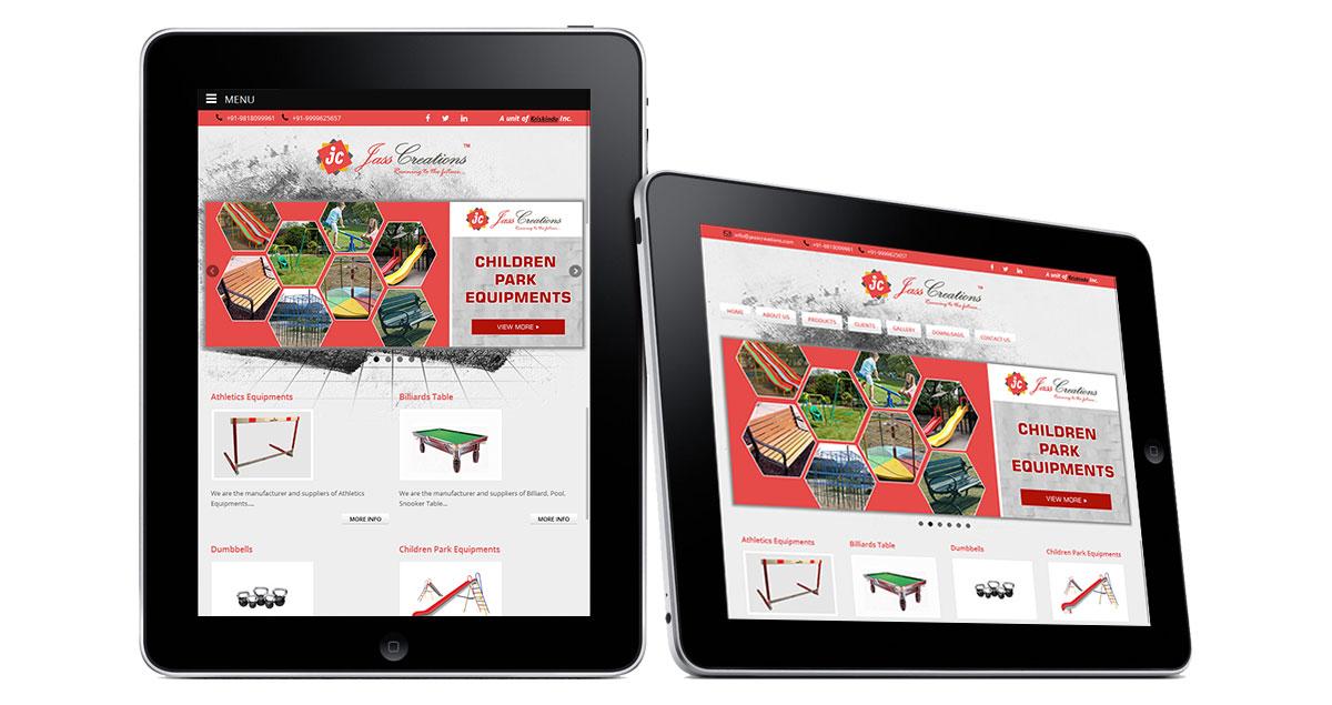 Jass Creations Website iPad