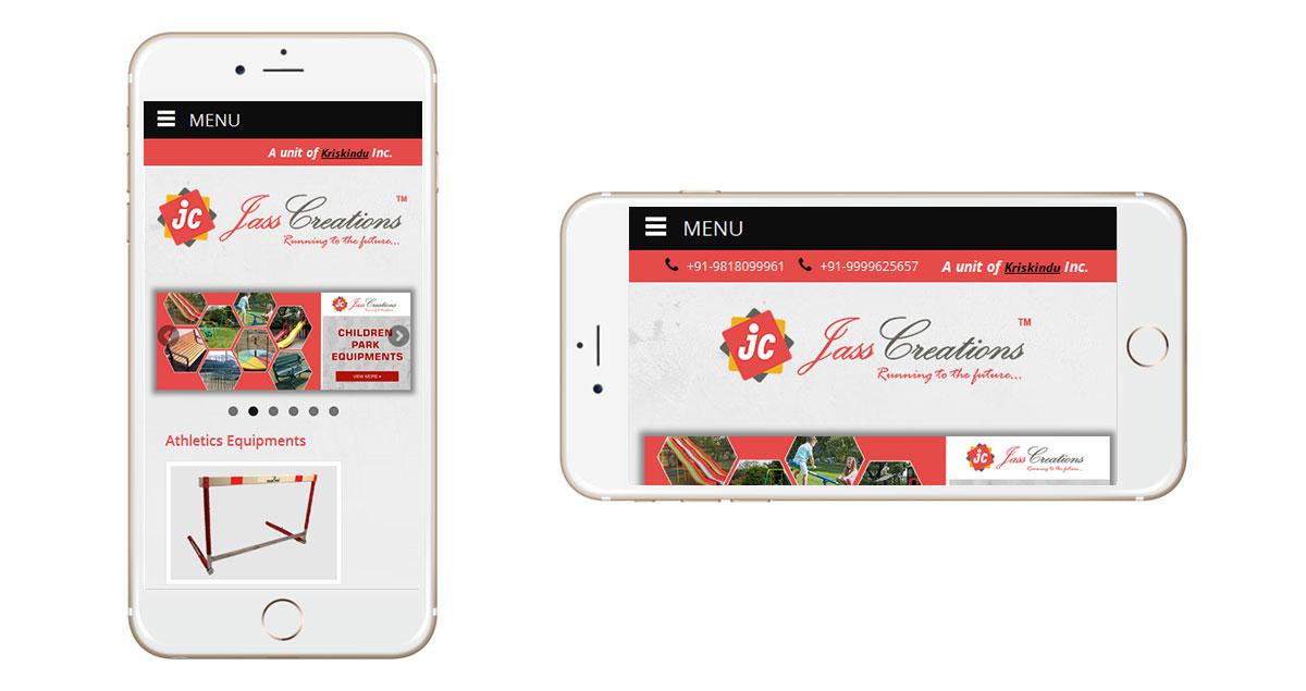 Jass Creations Website Mobile