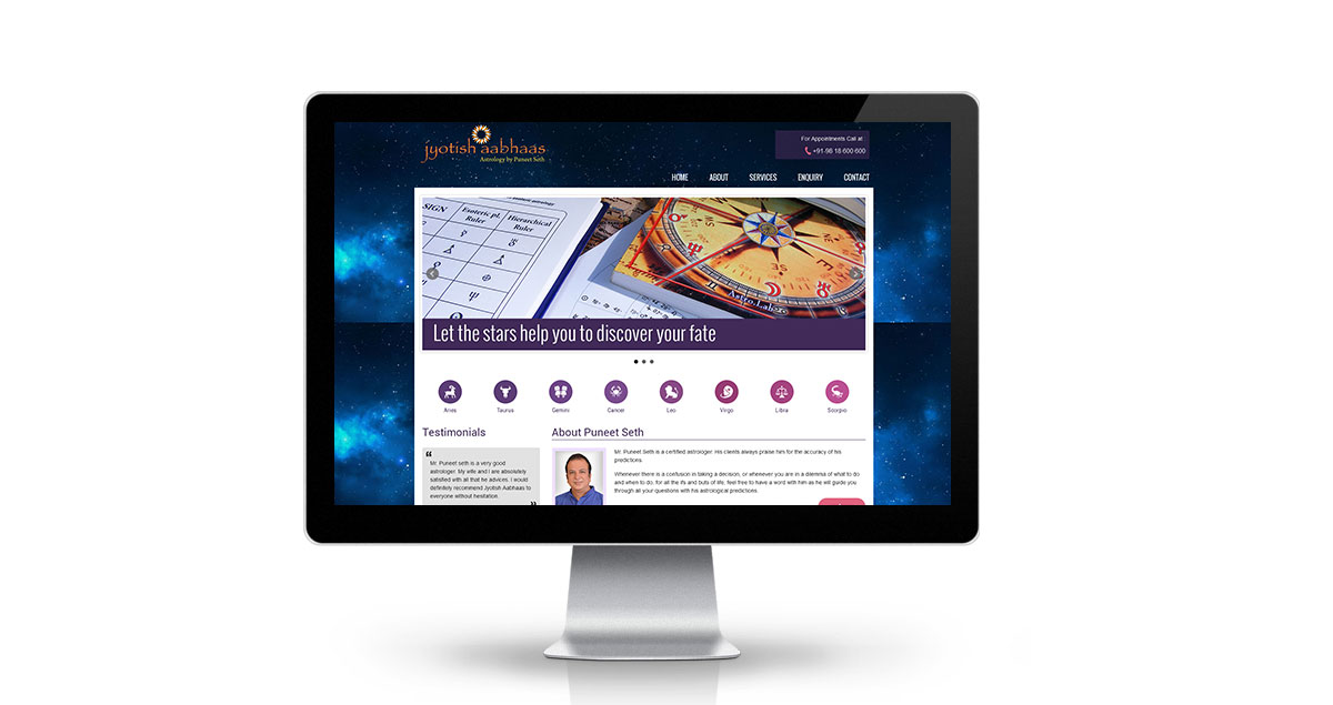Jyotish Aabhaas Website Desktop