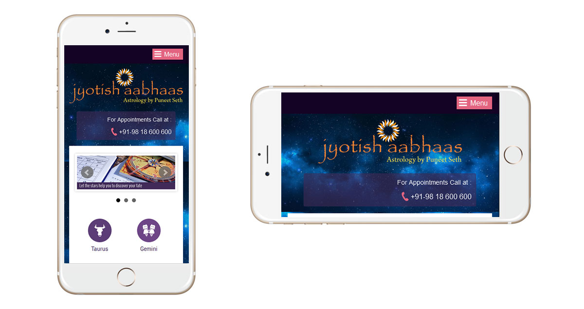 Jyotish Aabhaas Website Mobile