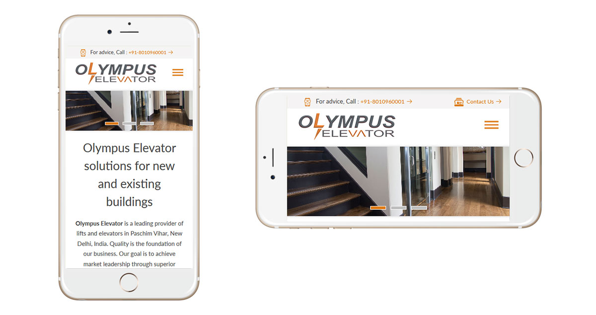Olympus Elevator Website Mobile