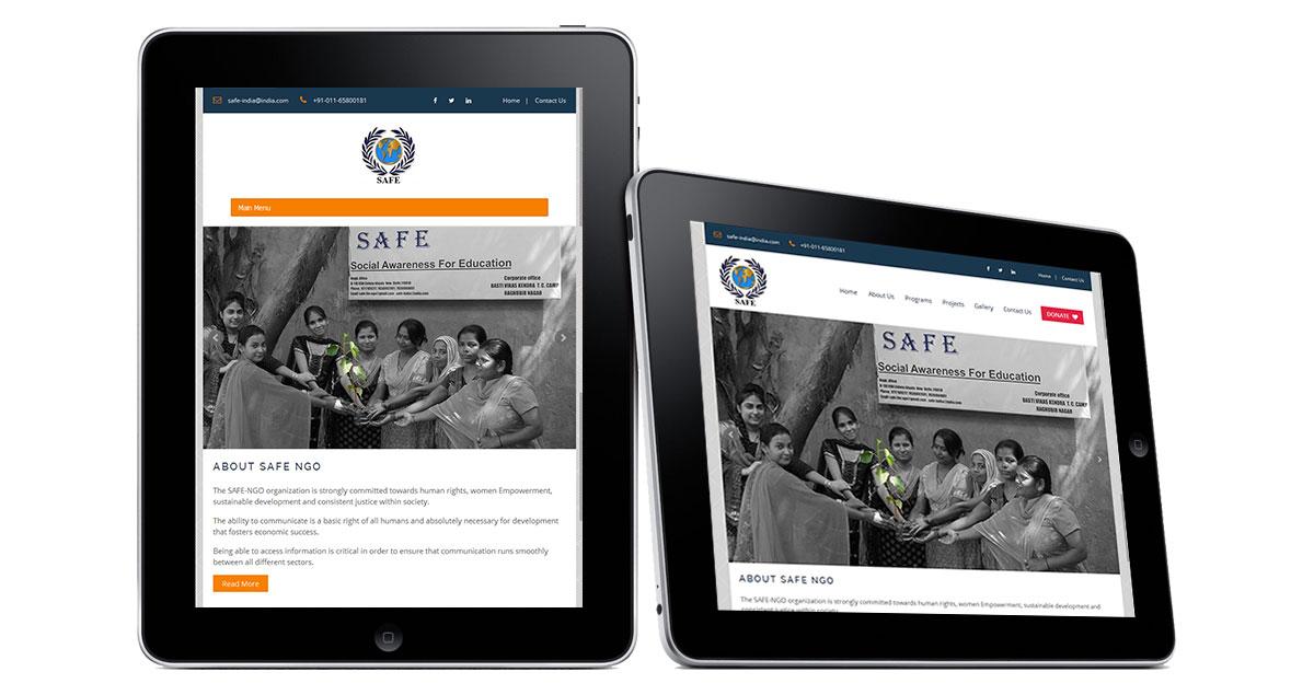 Safe NGO Website iPad