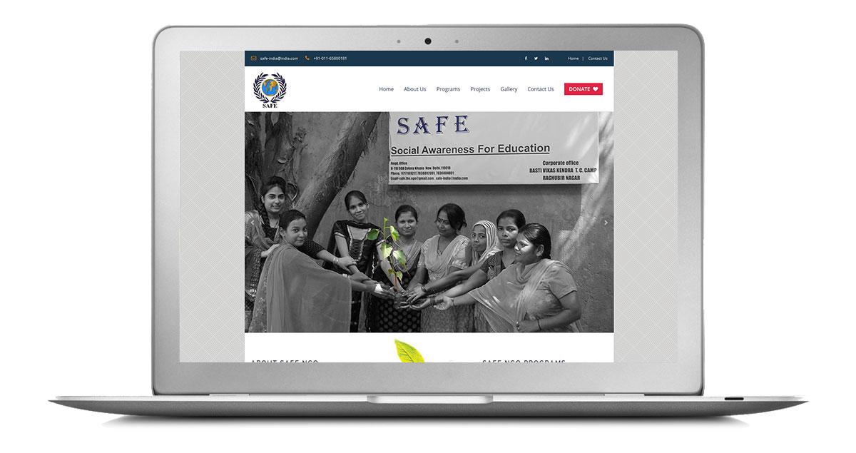 Safe NGO Website Laptop