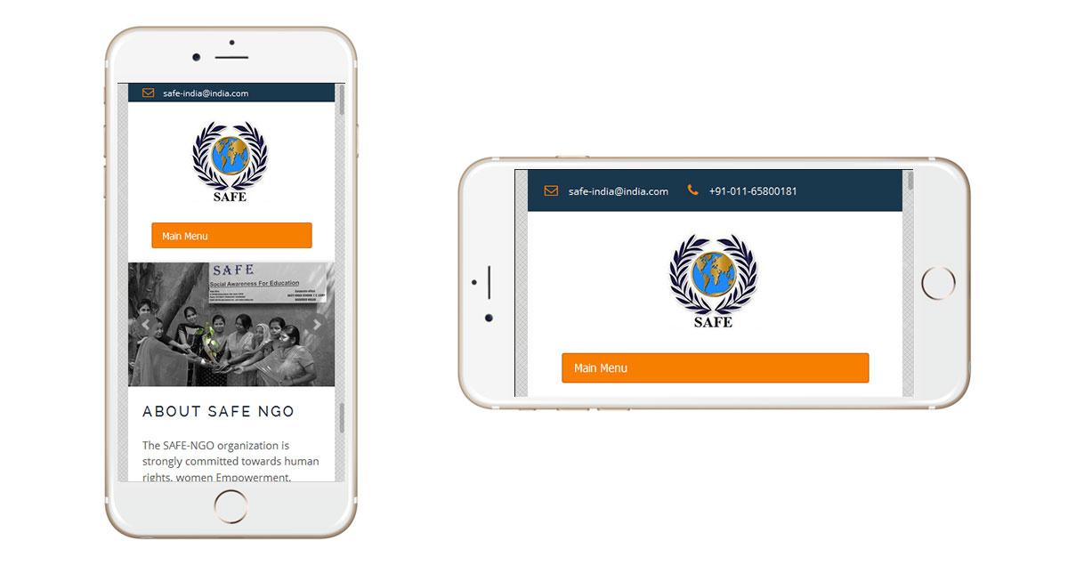 Safe NGO Website Mobile
