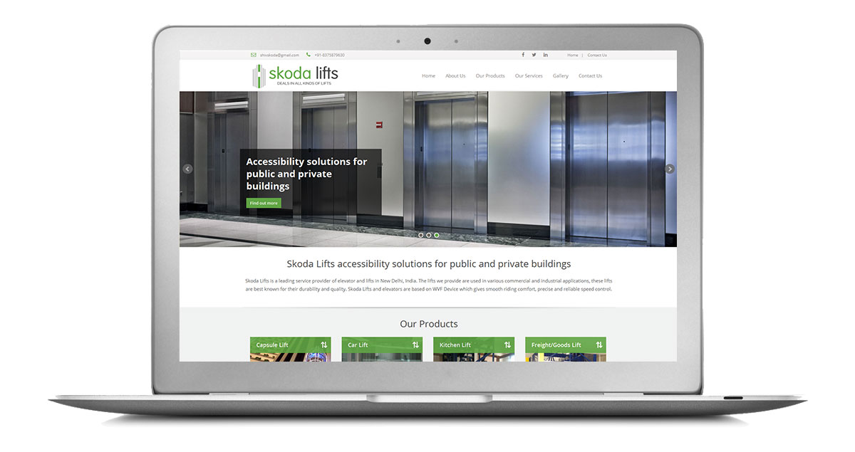 Skoda Lifts Website Laptop