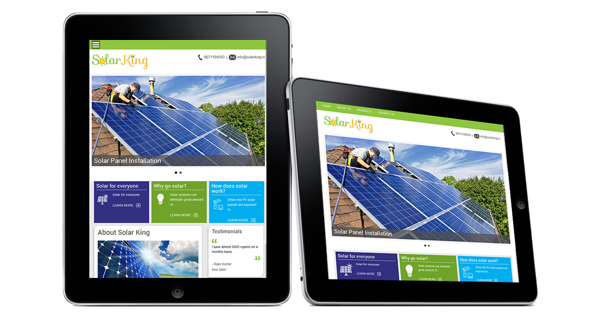 Solar King Website iPad