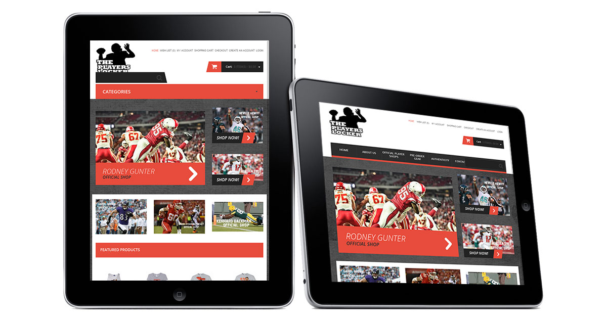 The Players Locker Website iPad