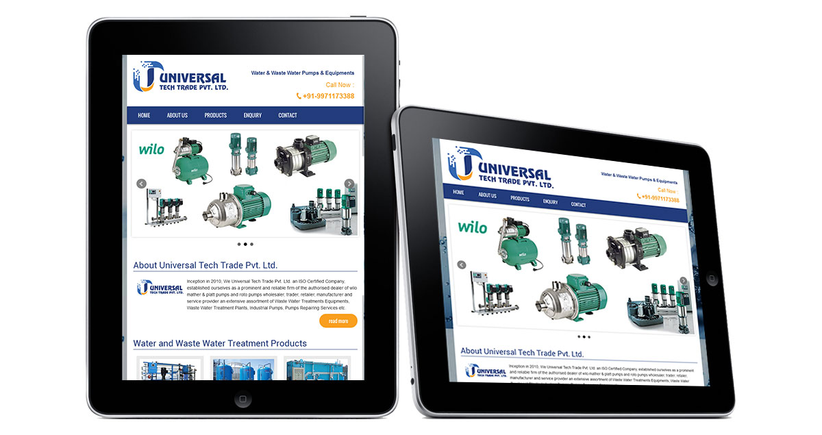 Universal Tech Trade Website iPad